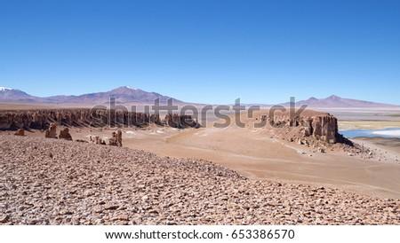Volcanic ash cathedrals in Atacama desert in Chile #653386570