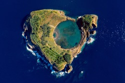 Volcanic atoll Vila Franca do Campo, an explosion crater filled with ocean water and connected to the Atlantic at multiple points, near southern part of São Miguel island, Azores.