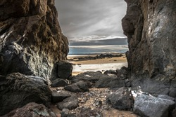 Volcanic cliffs - St Cyrus beach. Aberdeenshire, Scotland, United Kingdom