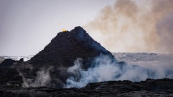 Volcanic eruption at Mt Fagradalsfjall, Southwest Iceland. The erution began on March 19th 2021 and occurred only about 30 km away from Reykjavík.