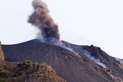 Volcanic eruption in Stromboli island, Italy.