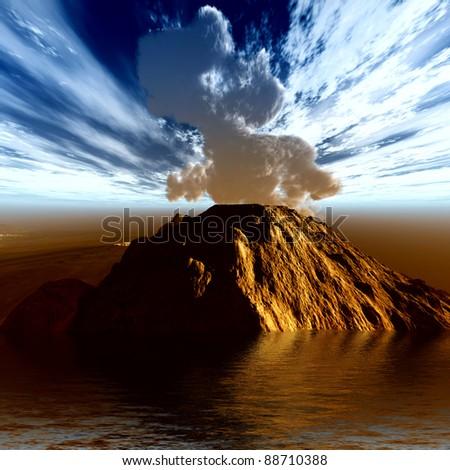 Volcanic eruption on the sea - stock photo