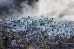 Volcanic gases rich in carbon dioxide, sulfur dioxide and hydrogen sulfide seep out of the ground along with groundwater steam at Sulphur Banks (Ha'akulamanu) in Hawaii Volcanoes National Park.