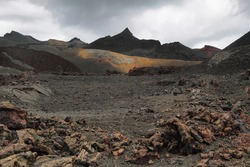 Volcanic landscape around Volcano Sierra Negra, of Isabela island, Galapagos Islands, Ecuador. The second largest crater in the world