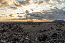 Volcanic landscape of Timanfaya National Park on island Lanzarote, Canary Islands.