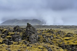 Volcanic landscape on the Reykjanes Peninsula in Iceland near the Blue Lagoon viewed from the road to Grindavik.