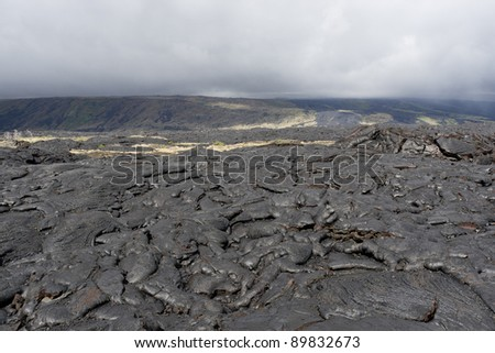 Volcanic lava field on Big island, Hawaii on a cloudy day.