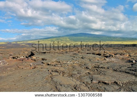 Volcanic lava rock field with an inactive volcano in the background on the Big Island of Hawaii