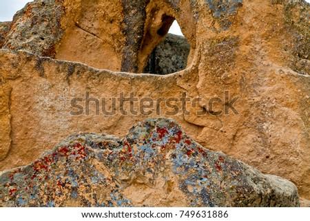 Volcanic rocks. Ancient cave town in Goreme, Cappadocia, Turkey #749631886