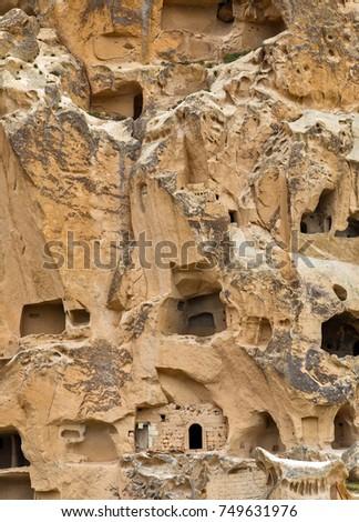 Volcanic rocks. Ancient cave town in Goreme, Cappadocia, Turkey #749631976