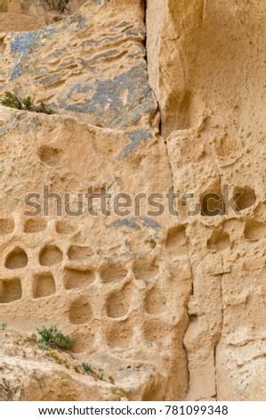 Volcanic rocks. Ancient cave town in Goreme, Cappadocia, Turkey #781099348