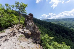Volcanic rocks (Vadallo-kovek) in the Pilis mountains near Budapest, Hungary.