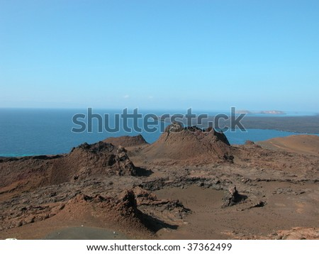 Volcanic spatter cones at The Galapagos Islands.