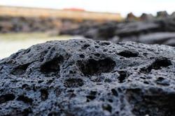 Volcanic stone in Jeju Island, South Korea.