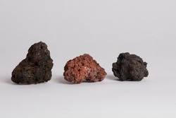 Volcanic stones grey and red