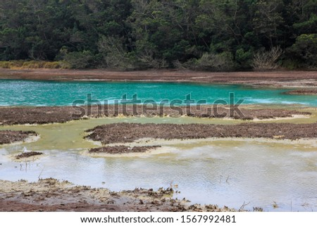 Volcanic sulfur lake telaga warna in Dieng plateau, Central Java Indonesia.  The lake is one mainstay tourist destinations in Wonosobo.