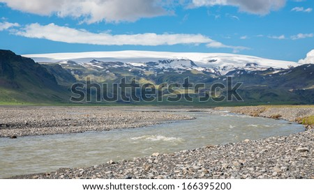 Volcano and glacier river, the extreme terrain in Iceland