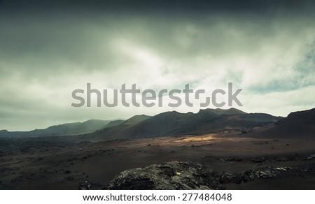 volcano and lava desert. Lanzarote, Canary islands #277484048