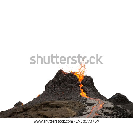 Volcano crater during lava eruption isolated on white background Сток-фото ©