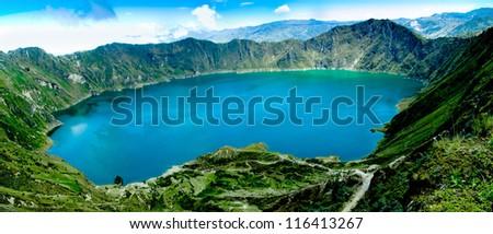 Volcano crater lake panorama, Quilotoa, Ecuador