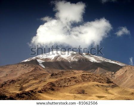 Volcano Demavend 5700 meters, Iran - stock photo