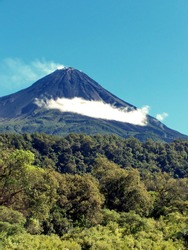 Volcano, dormant when photographed but since erupted, near Colima, Mexico