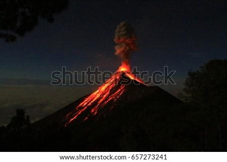 volcano el fuego erupting at...