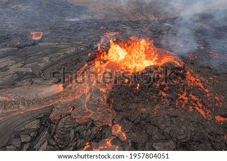 volcano eruption aerial view, Mount Fagradalsfjall, Iceland 4K drone shot from Iceland of Hot lava and magma coming out of the crater, April 2021   Сток-фото ©