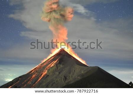 Volcano eruption at night - Volcano Fuego in Antigua, Guatemala