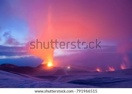 Volcano eruption in Eyjafjallajokull in Iceland during twilight