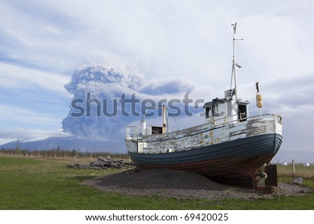 Volcano Eruption in Iceland Ash, Sky and boat