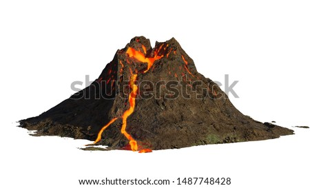 volcano eruption, lava coming down a mountain, isolated on white background (3d science illustration)