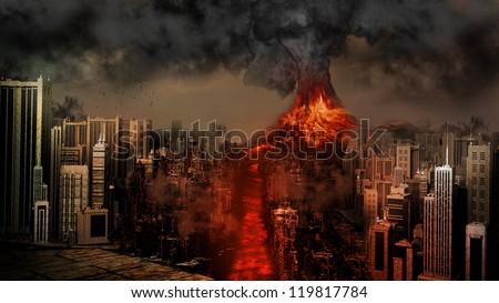 Volcano eruption near the city