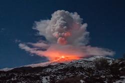 Volcano Etna eruption in Sicily