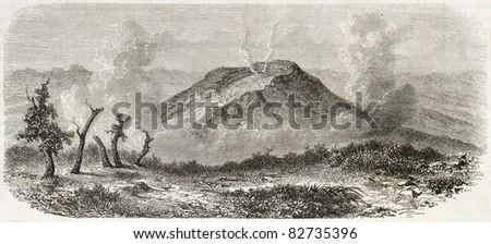 Volcano in Java island, Indonesia, old illustration. Created by De Bar after Steiger, published on Le Tour du Monde, Paris, 1860
