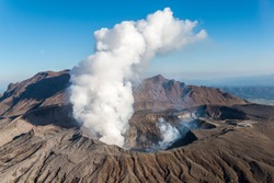 Volcano, Kyushu, Mount Aso, Beautiful Panorama Aerial View Smoke Gas Steam Crater Caldera largest active Volcano in Japan Island eruption under Sunny Clear Blue Sky in Summer Daytime, Kumamoto, Kyushu