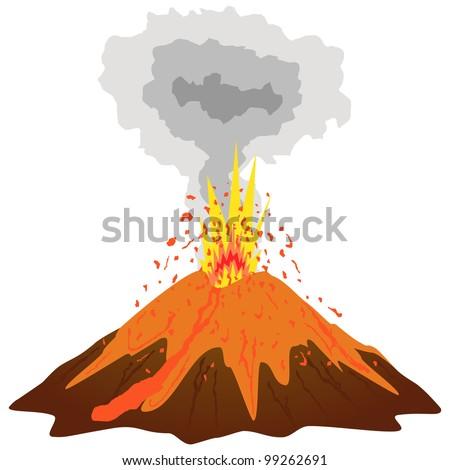 Volcano mountain top erupting.