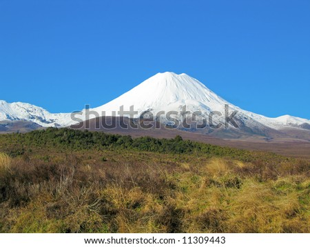 volcano of tongariro covered with snow