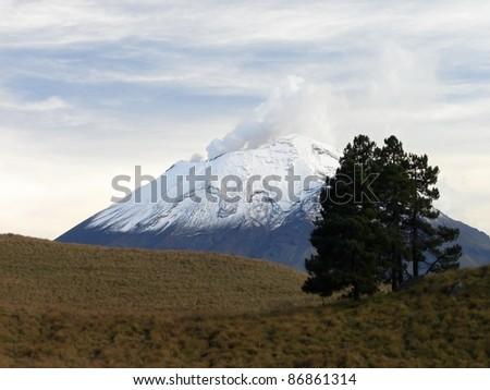 Volcano Popocatepetl (from Iztaccihuatl), Mexico