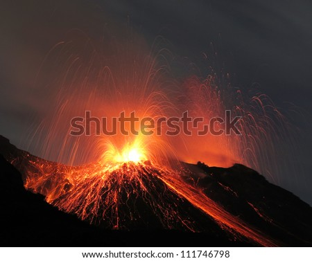 Volcano Stromboli erupting  every 20 min each day with more or less strong eruptions, emitting ash lava, dust and  sand