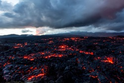 Volcano Tolbachik. Lava fields. Russia, Kamchatka, the end of the eruption of the volcano Tolbachik, August 2013.