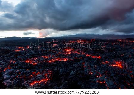 Volcano Tolbachik. Lava fields. Russia, Kamchatka, the end of the eruption of the volcano Tolbachik, August 2013. #779223283