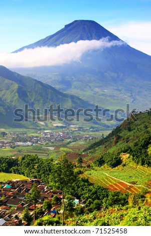 Volcano view point in Indonesia - stock photo