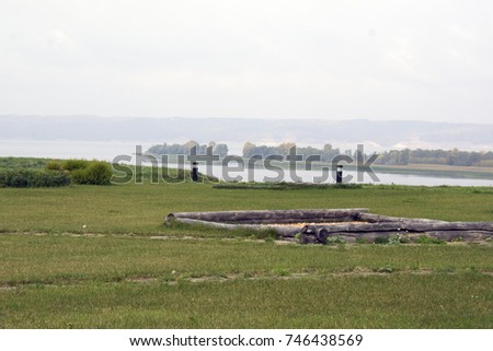 Volga river with contours of the houses in Bolgar museum, Tatarstan #746438569