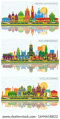 Volgograd, Kaliningrad and Nizhny Novgorod Russia City Skylines with Color Buildings, Blue Sky and Reflections. Business Travel Concept with Historic Architecture. Cityscapes with Landmarks.