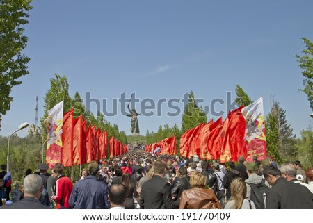 VOLGOGRAD - MAY 9:A huge number of people rises up the stairs on the Mamayev Kurgan in the victory day.  May 9, 2014 in Volgograd, Russia.