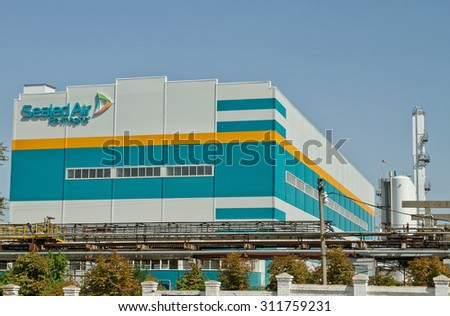 VOLGOGRAD, RUSSIA - AUGUST 28: The new building chemical company Sealed air with  logo on the territory of JSC Kaustik .August 28, 2015 in Volgograd, Russia. #311759231