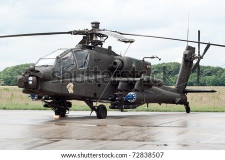 VOLKEL, NETHERLANDS - JUNE 16: Dutch Air Force AH-64 Apache on display at the Royal Netherlands Air Force Days June 16, 2007 in Volkel, Netherlands.