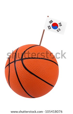 Volley-ball decorated with a small paper national flag of South Korea on a tooth stick