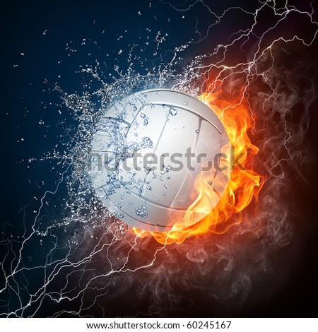 Volleyball Ball in Fire and Water on Black Background